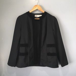 70's Vintage Velvet Trim Open-Front Black Jacket